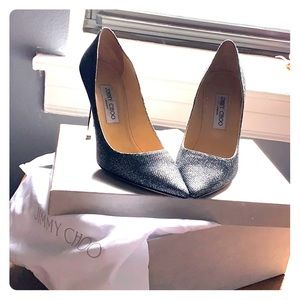 Jimmy Choo Lame glitter - anthracite high heels